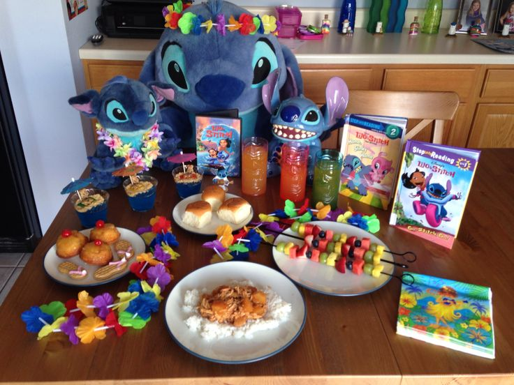 Lilo and Stitch Dinner - Lilo's Hawaiian Chicken and Coconut Rice, Stitch's Skewers, Nani's Hawaiian Rolls, David's Surfer Sandal Cookies, Tourists on the Beach Jello Cups, Pleakley's Pineapple Upside Down Cupcakes and Jumba's Juice - Lilo and Stitch Movie Night - Disney Movie Night - Family Movie Night