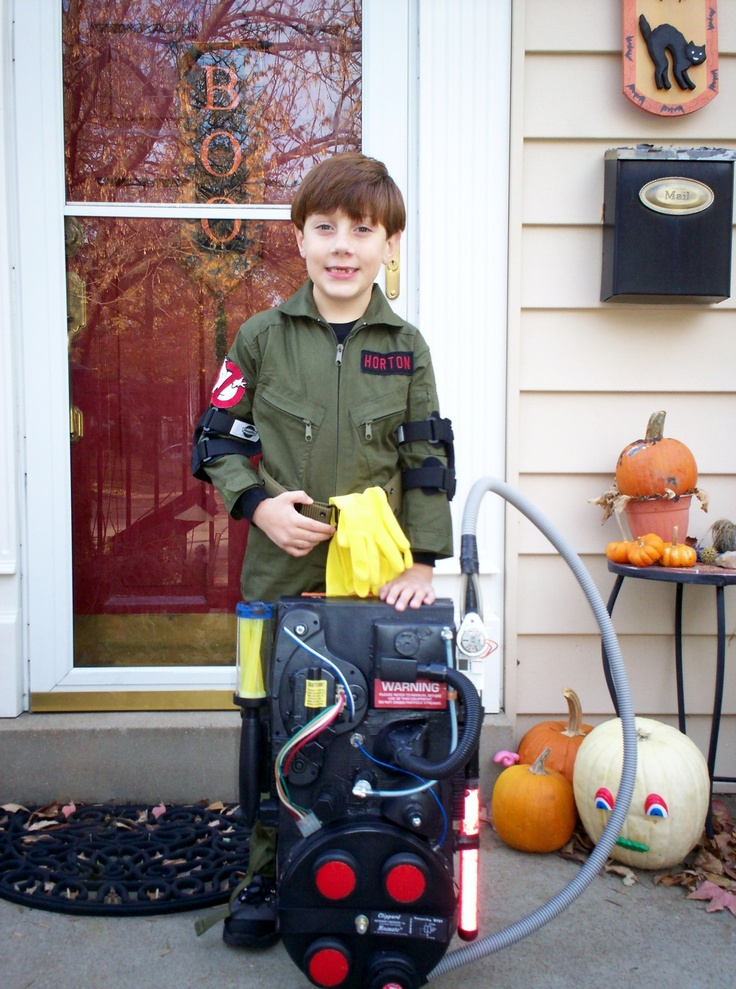 DIY KIDS GHOSTBUSTER COSTUME   My son in the Ghostbusters costume I made him. His proton pack had working lights, flashing hand wand and theme music.
