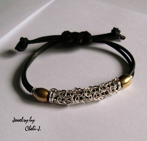 His and Hers Leather and sterling silver by Raquelchelouche Chainmaille #jewlerymaking