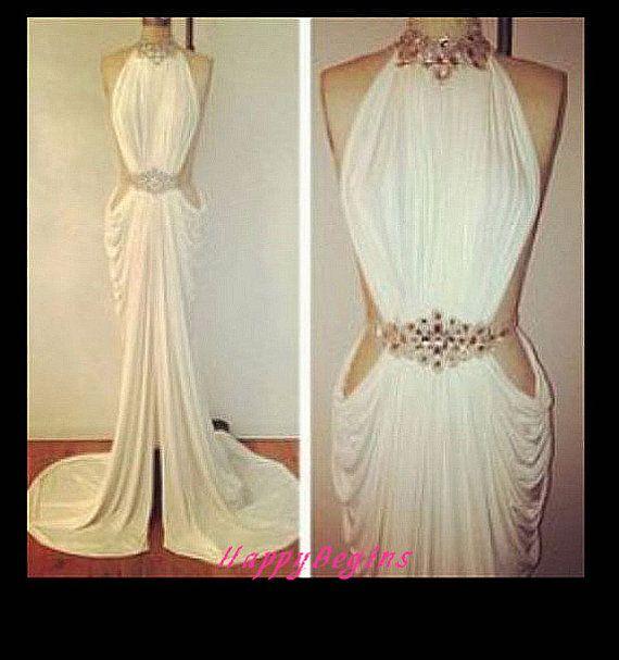Mermaid Prom dress- White beaded mermaid backless long slit prom dress/ evening party dress