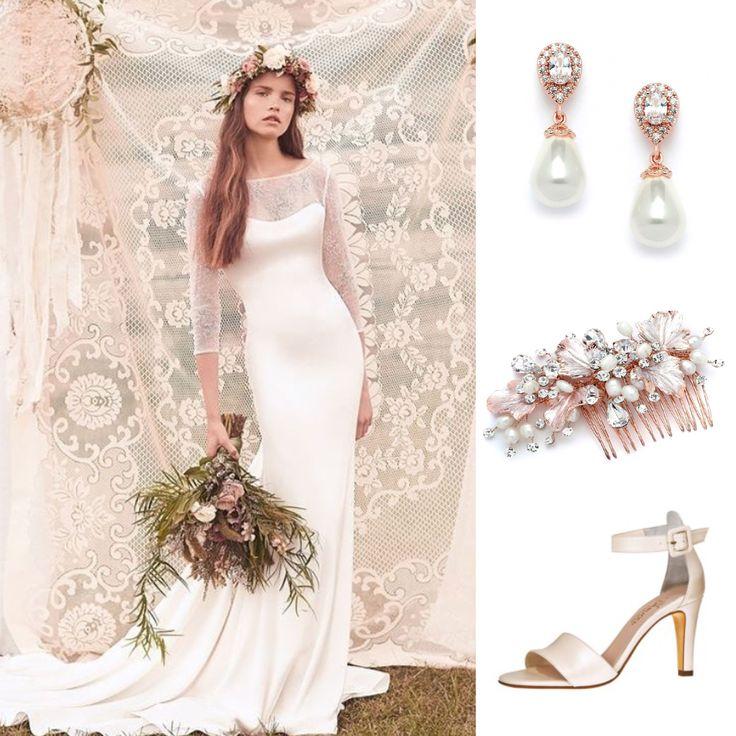 Webshop Bruidssieraden Bruiloft Bruid Ibiza Rosegold Bruidsschoenen Highheel Crystal Parel Oorbellen Haarsieraad Bohemian