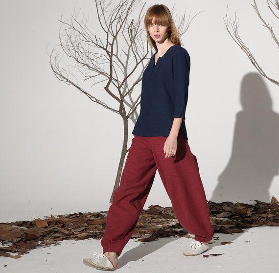 Red linen pants maxi pants women pants 1160 by xiaolizi on Etsy