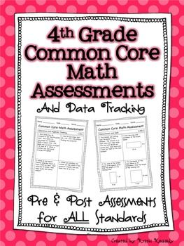 Fourth Grade Common Core Math Assessments (Pre and Post for ALL Standards) | by Kristin Kennedy | $8.00