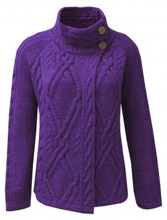 Funnel Neck Aran Cardigan | Knitwear | The Edinburgh Woollen Mill ♪ ♪ ... #inspiration #crochet #knit #diy GB