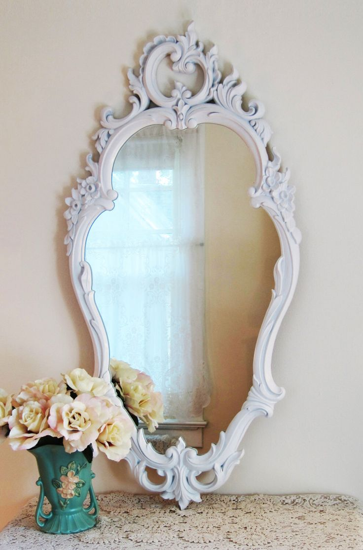 Large white wall mirror french country mirror dressing for Narrow wall mirror decorative