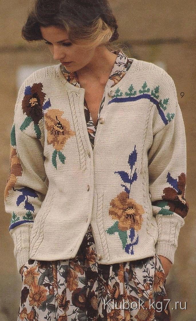 Жакет с цветами спицы