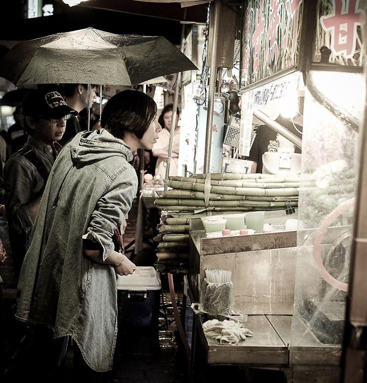 Night market, street food and bamboo