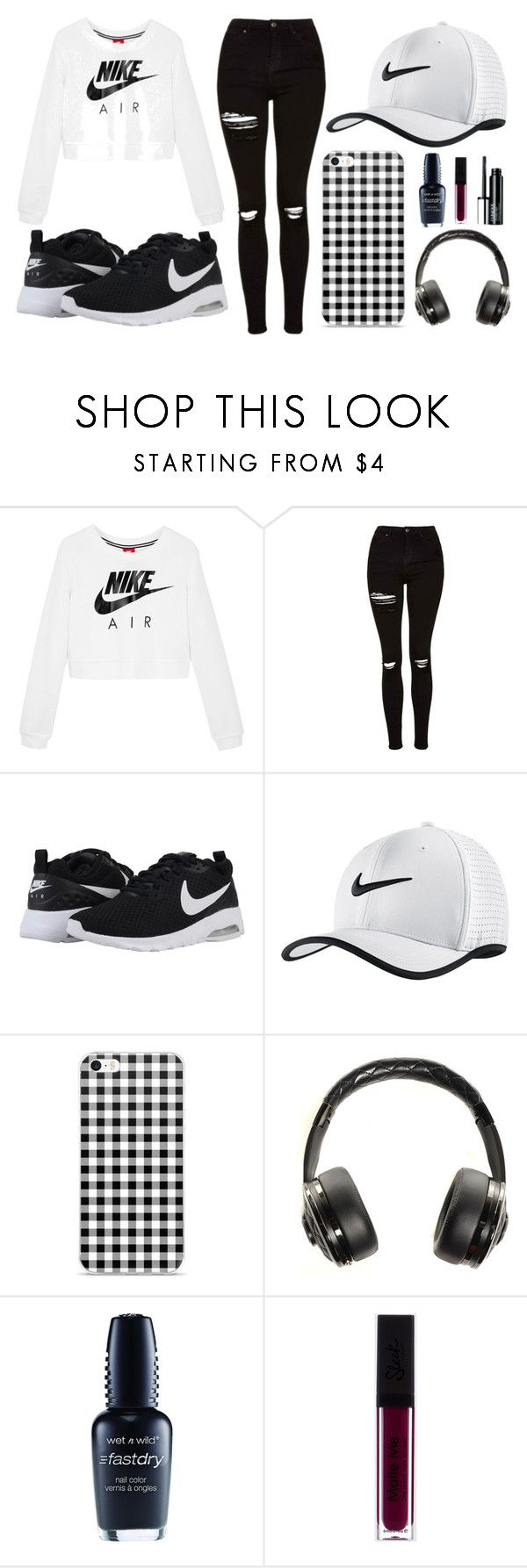 """""""Black, white and Nike"""" by thisisalle on Polyvore featuring NIKE, Topshop, Chanel, Wet n Wild and Clinique"""