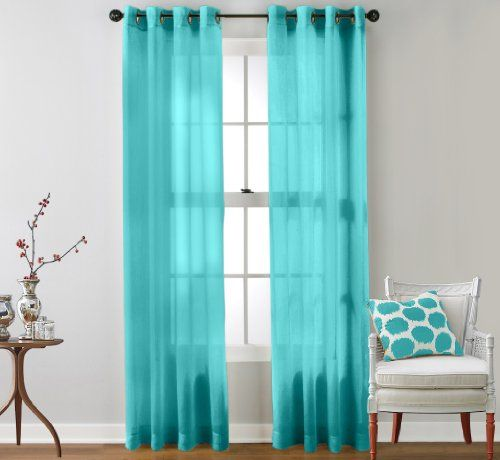 Hlc Me 2 Piece Sheer Window Curtain Grommet Panels Aqua
