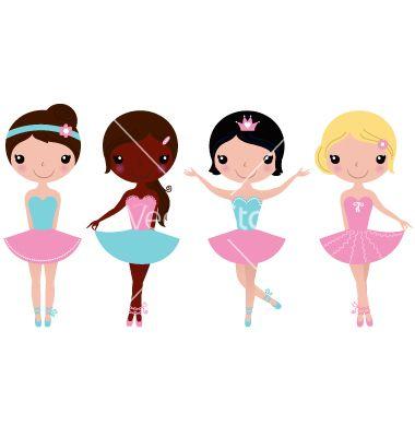 Cute+beautiful+ballerina+girls+isolate+on+white+vector+2188923+-+by+lordalea on VectorStock®