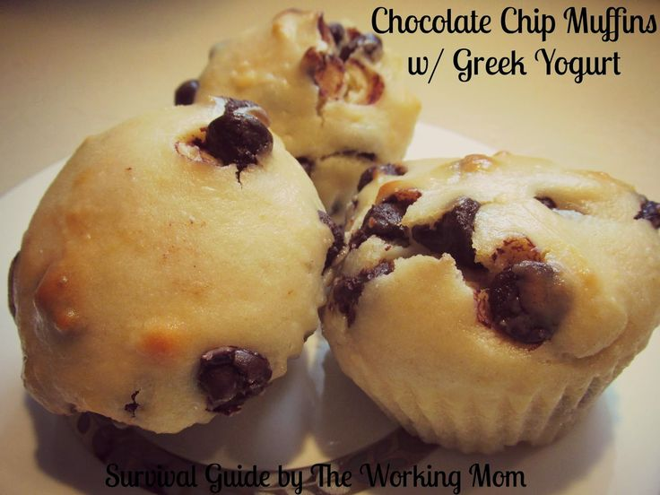 Chocolate chip muffins, Muffin recipes and Greek yogurt on Pinterest