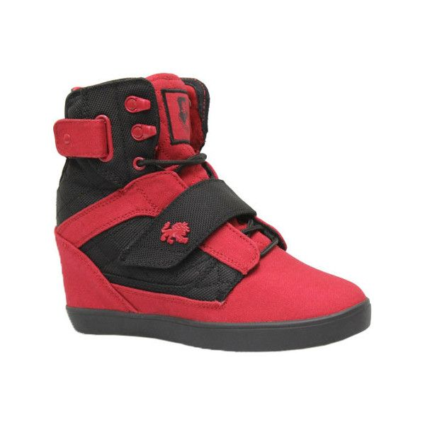 Women's Vlado Atlas 2 Wedge High Top - Red/Black Canvas/Mesh Casual ($75) ❤ liked on Polyvore featuring shoes, sneakers, casual, casual shoes, red sneakers, canvas sneakers, red wedge shoes, wedge sneakers and studded lace-up wedge sneakers