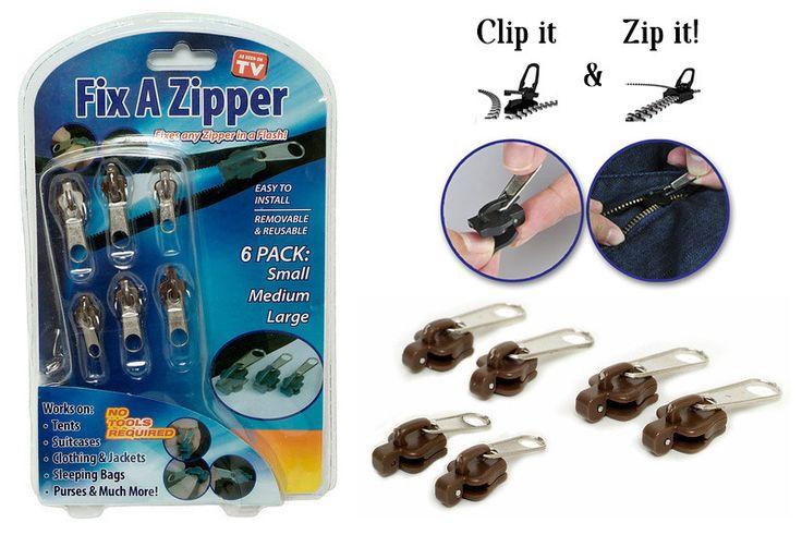 6 pz/lotto Universale multifunzionale della chiusura lampo Fissare Una Cerniera 6 pacco Zip di Salvataggio Immediato Kit di Riparazione di Ricambio accessori di abbigliamento