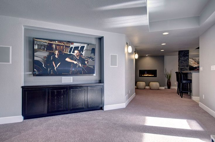 The Basement Family Room Features A Recessed Tv Wall For