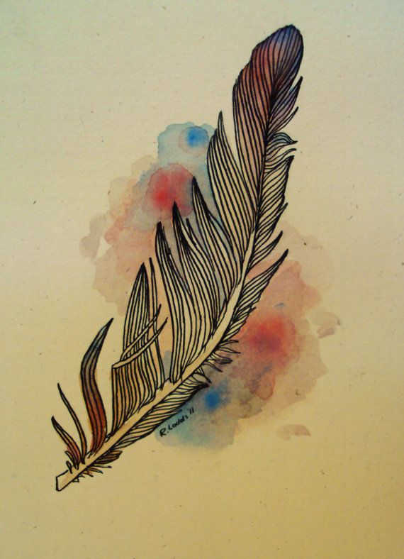 Feather Drawing via Etsy