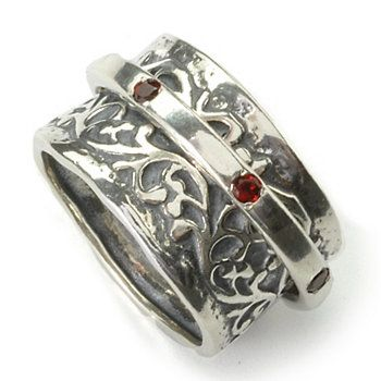 Passage to Israel Sterling Silver Gemstone Spinner Ring