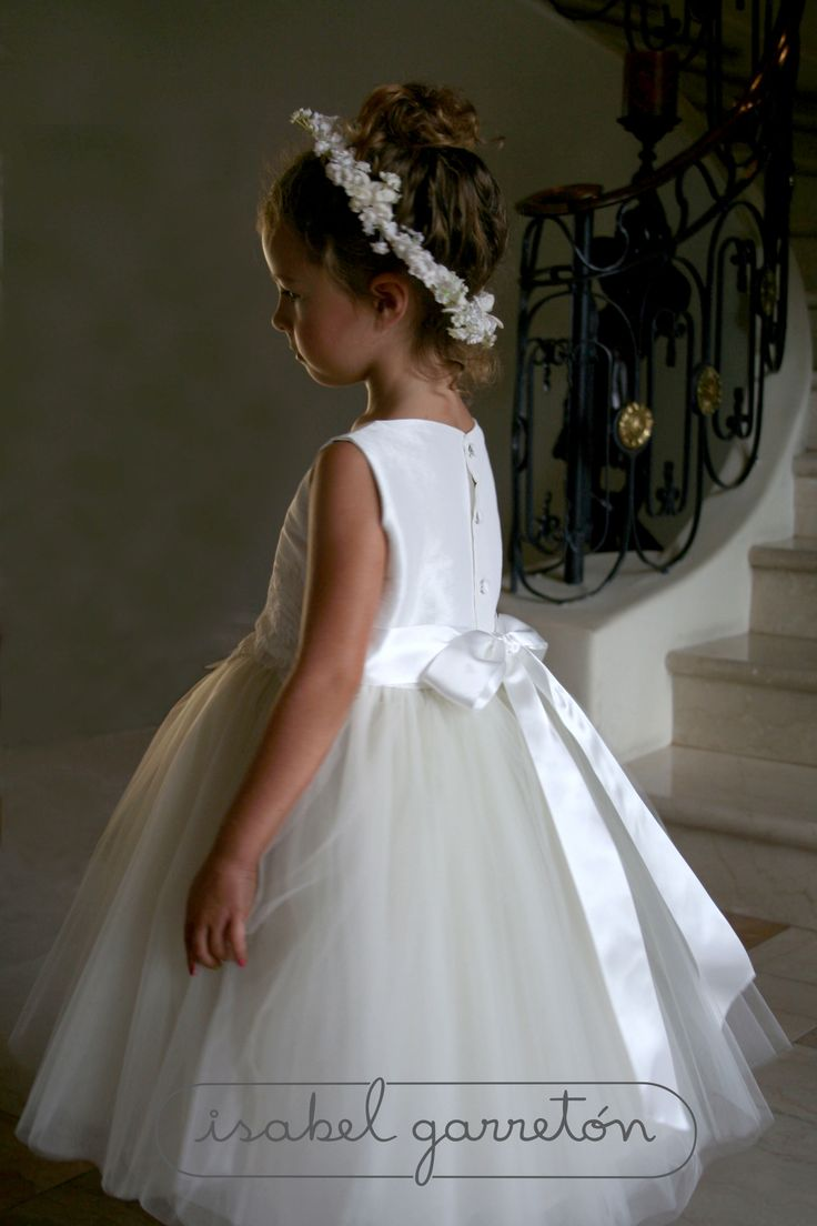 """Enchanting"" an #ivoryflowergirldress trimmed with a beautiful lace at the waistline. Also in white http://isabelgarreton.com/enchanting-tulle-skirt-girls-dress/"