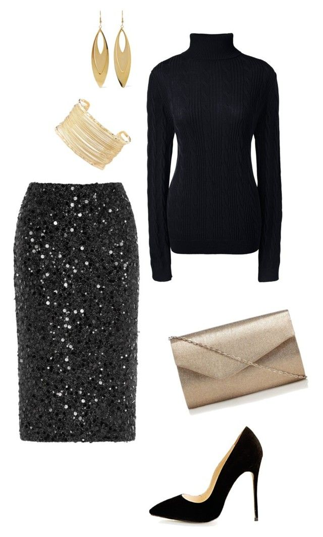 """Christmas party or winter wedding guest black sequin skirt"" by nickiellie on Polyvore featuring Warehouse, Lands' End, Charlotte Russe and Kenneth Jay Lane"