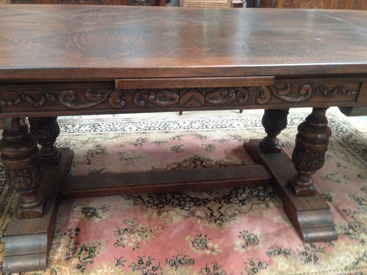 French oak marquetry top and double pedestal base with stretcher base extension table