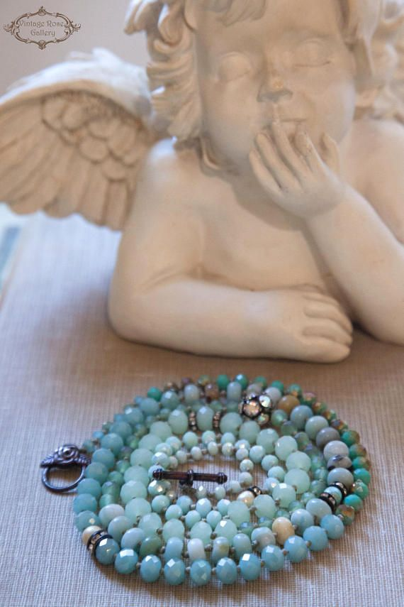 Boho chic - Multi strand Bracelet /Necklace - Boho Statement Necklace - 6 wraps Bracelet One of my favourite pieces : - Sea Breeze Necklaces - Features Amazonite gemstones , antique rhinestones , an aurora borealis Czech ball , Vintage faux pearls and different shapes and shades