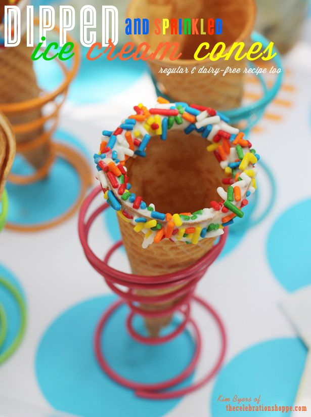 Dipped Ice Cream Cones Recipe & DIY Tutorial - Perfect for Ice Cream Socials and Summer Parties | @kimbyers TheCelebrationShoppe.com