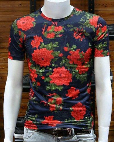 2085d173e4977c Red rose flower t shirt Viscose short sleeve mens floral t shirts ...