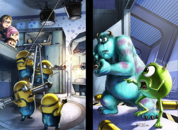 Monsters Inc. vs. Minions  Film Crossover  11 x 17 by Wizyakuza
