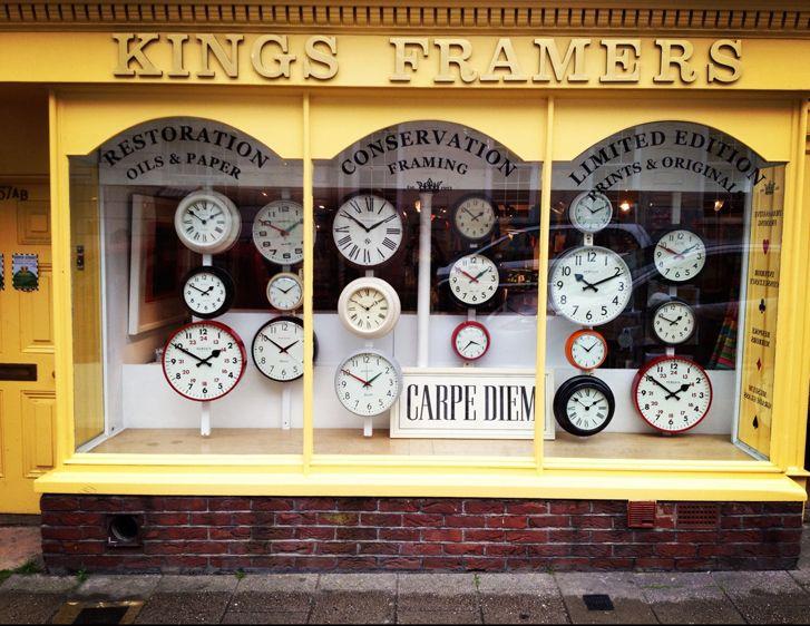 Clock Window Display - Kings Framers - Lewes, East Sussex