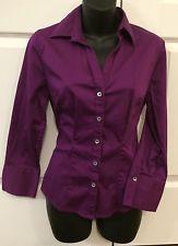 Womens Banana Republic Stretch Fitted Button Long Sleeve Shirt Small Purple   eBay