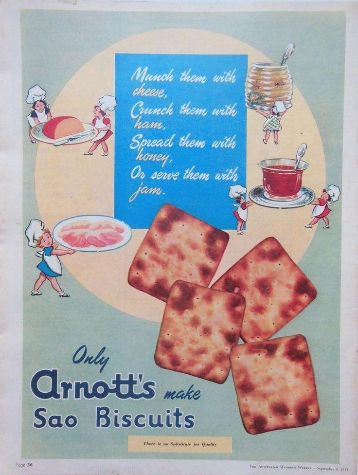 ARNOTT S SAO BISCUIT AD RARE GREEN 1953 original vintage AUSTRALIAN advertising