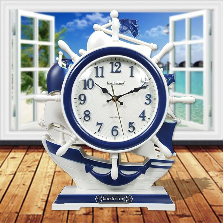 Crafts Arts Home decoration The clock stylish decoration creative Mediterranean Sea style ornaments of blue and white children q #Affiliate