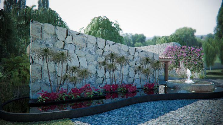 Un muro en cantera rustica blanco mexicano lajeada sobre - Muro de agua ...