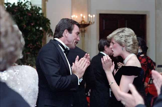 November 9, 1985: Princess Diana with actor Tom Selleck at a State dinner given by President and Mrs Reagan at the White House, Washington, D.C.