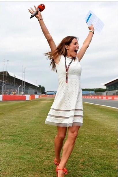 Natalie Pinkham wearing Bernshaw 'Busaba' dress at Silverstone