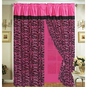 4 Pieces Faux Silk Hot Pink With Black Zebra Window Curtain / Drape Set  With Sheer