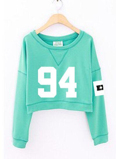 2015 moda mulheres de número impresso cropped com capuz kpop exo primavera outono hoodies de curta verde sudadera mujer em Moletons de Moda e Acessórios no AliExpress.com | Alibaba Group