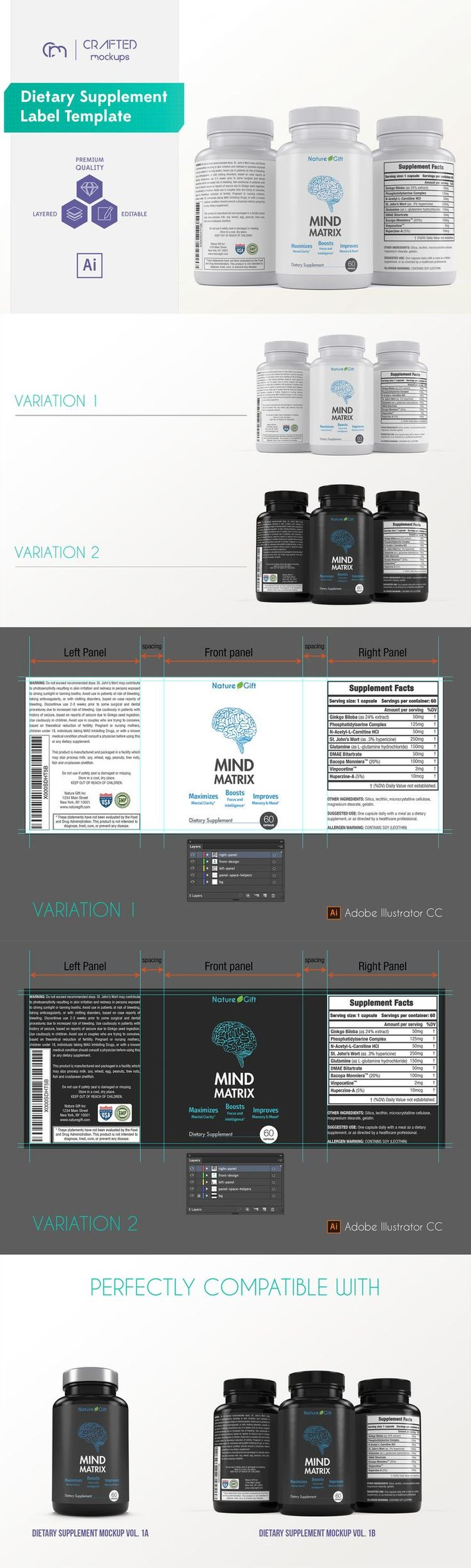 nutrition / dietary supplement design / dietary supplement label / dietary supplement label template / label design template / packaging design | By Crafted Mockups on @Creative Market #vitaminC #FF #L4L #vitaminA