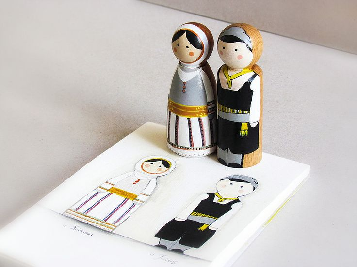 Peg dolls with traditional uniforms from Chios island