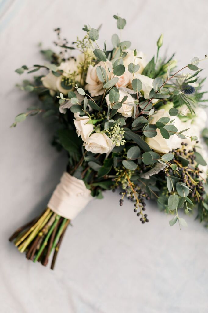 Bridal Bouquet Wild Greenery With White Flowers Wild Flower Bouquet Ribbon Wrapped Br In 2020 Hand Bouquet Wedding Elegant Bridal Bouquets White Flower Bouquet