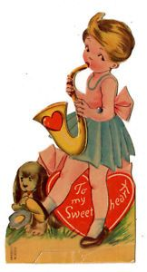 CUTE GIRL PLAYING A SAXOPHONE /VINTAGE MECHANICAL GERMAN VALENTINE GREETING CARD  | eBay