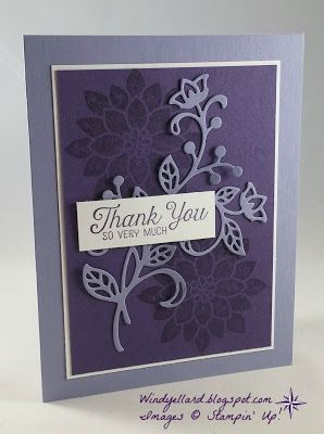 handmade thank you card from Windy's Wonderful Creations ... monochromatic purple ... die cut flourish over tone on tone stamped flowers ... lovely card! ...