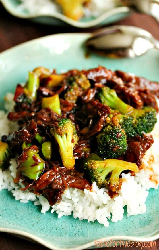 Crock Pot Beef and Broccoli: In crockpot, whisk 1c beef broth, 1/2c soy sauce, 1/3c dark brown sugar, 1T sesame oil,  3 minced garlic cloves. Add 1lb thinly sliced beef chuck roast and toss to coat. Cook low 6 hours. Whisk 4T finished cooked liquid with 2T cornstarch and mix into to crock with approx 2c frozen broccoli florets. Cook additional 30 mins.