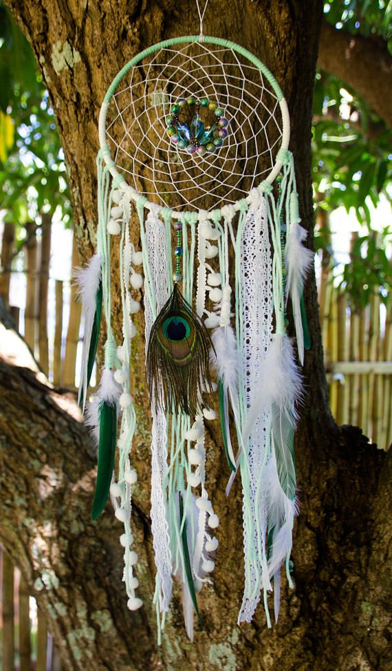 Tiffany Color Dreamcatcher, Authentic Dream Catcher, Small Dreamcatcher, Native America Inspired Dreamcatcher, Rustic Wall Hanging
