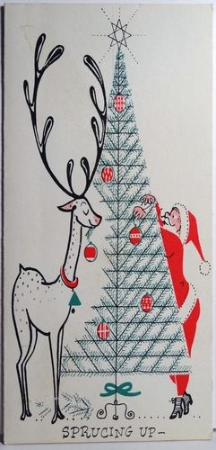 Buzza Cardozo Mid Century Santa Reindeer Vintage Christmas Card 1658 | eBay
