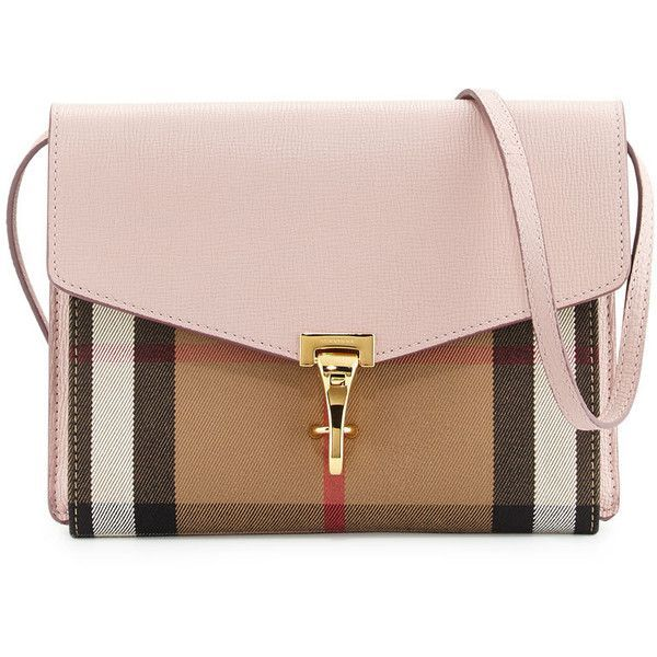 Burberry Small Macken House Check Derby Messenger Bag ($1,150) ❤ liked on  Polyvore featuring