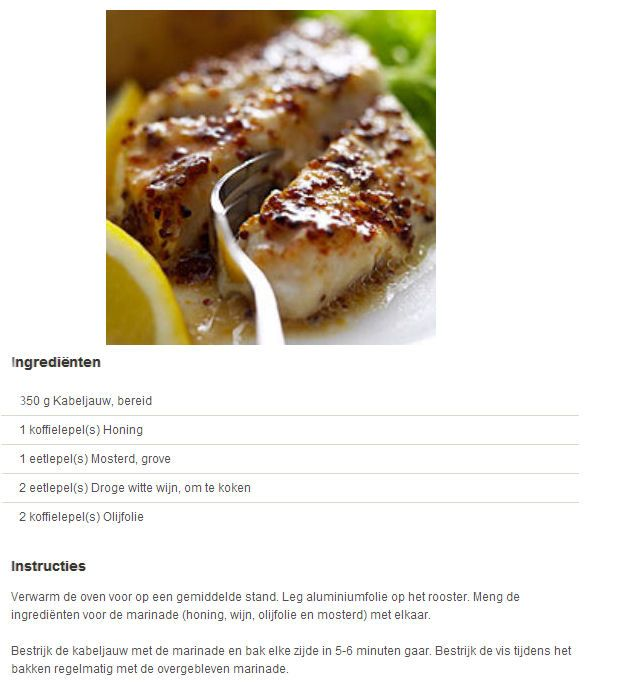 Kabeljauwfilet met honing en mosterd