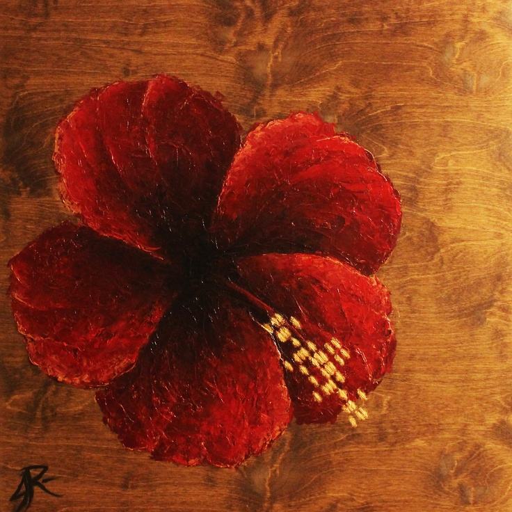 Hibiscus Dream    DNA from a california hibiscus flower  36x36 oil on stained wood panel