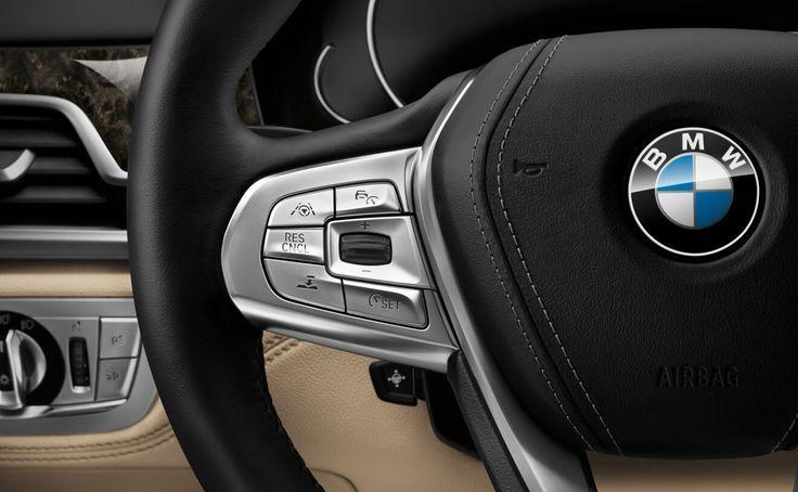 BMW 7 Series Sedan  The BMW 750i xDrive steering wheel detail.