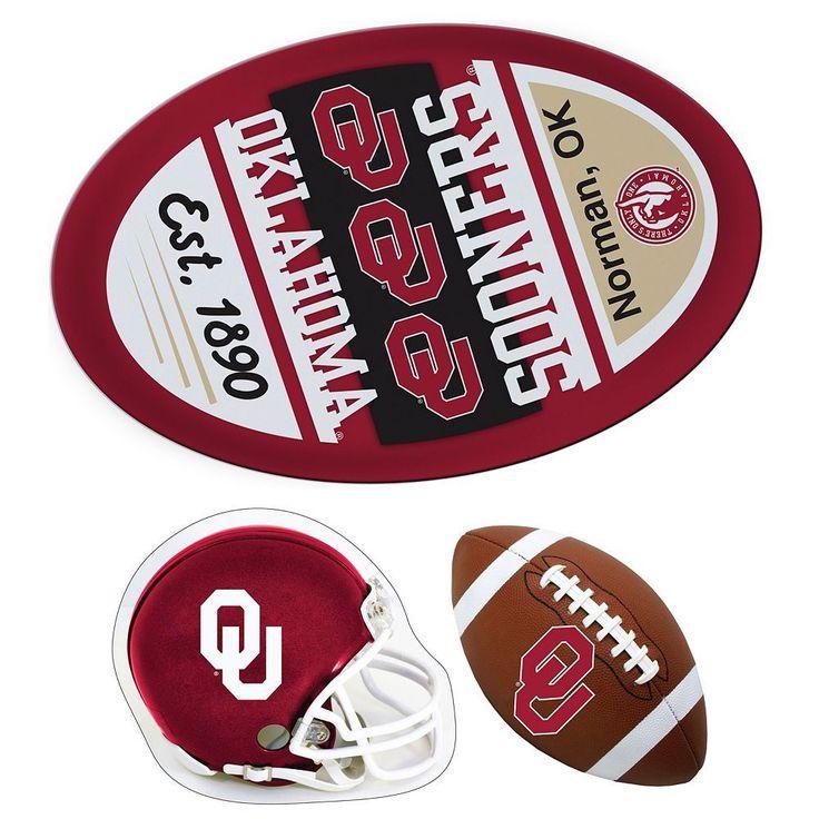 Oklahoma Sooners Helmet 3-Piece Magnet Set, Multicolor