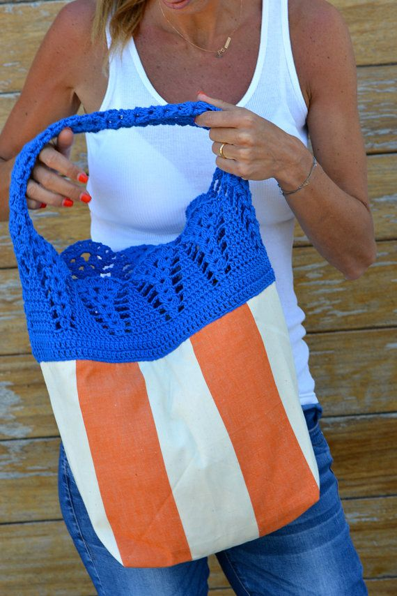Handmade lacy crochet hobo bag / Crochet tote bag in by SophieCRO